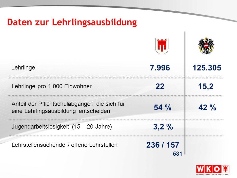 Entscheidung für die Lehre Quelle: WKV Lehrlingsstatistik – Stichtag: 31.12.