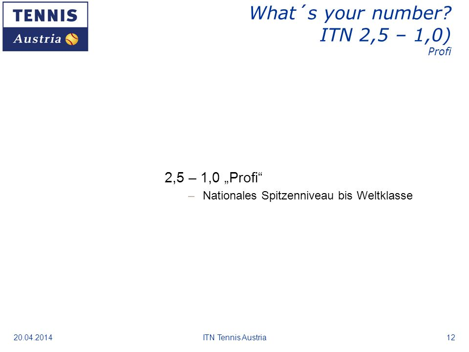 20.04.2014ITN Tennis Austria12 What´s your number? ITN 2,5 – 1,0) Profi 2,5 – 1,0 Profi –Nationales Spitzenniveau bis Weltklasse