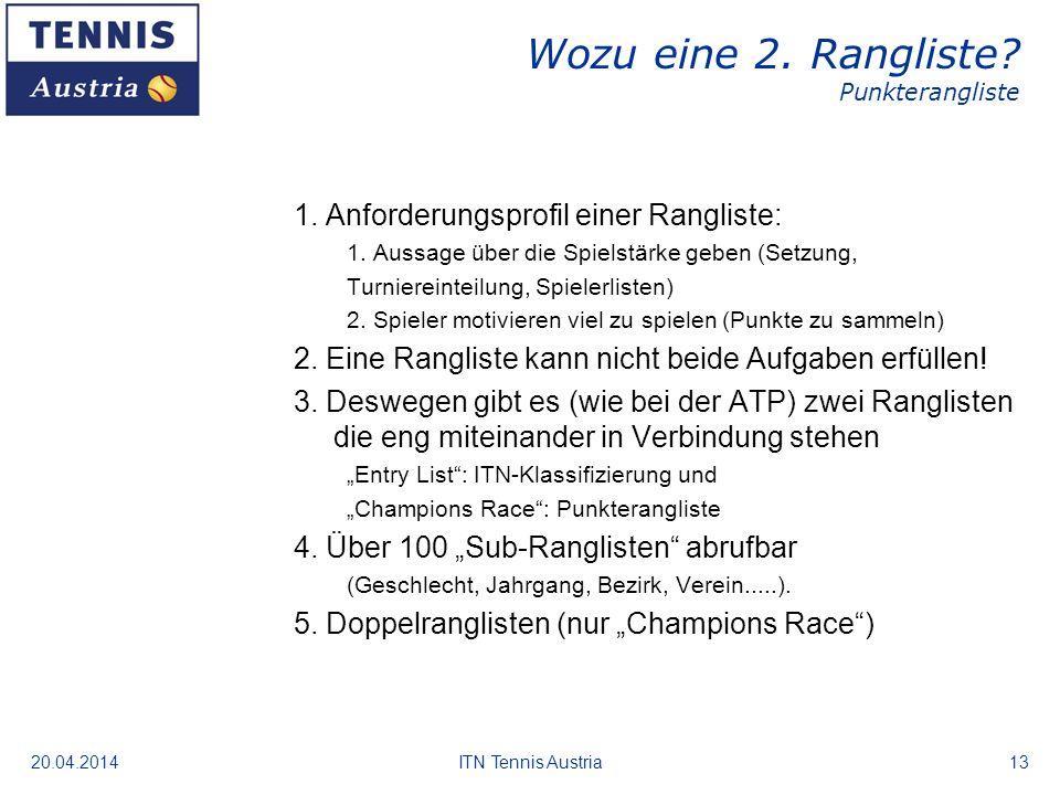 20.04.2014ITN Tennis Austria13 Wozu eine 2. Rangliste? Punkterangliste 1. Anforderungsprofil einer Rangliste: 1. Aussage über die Spielstärke geben (S