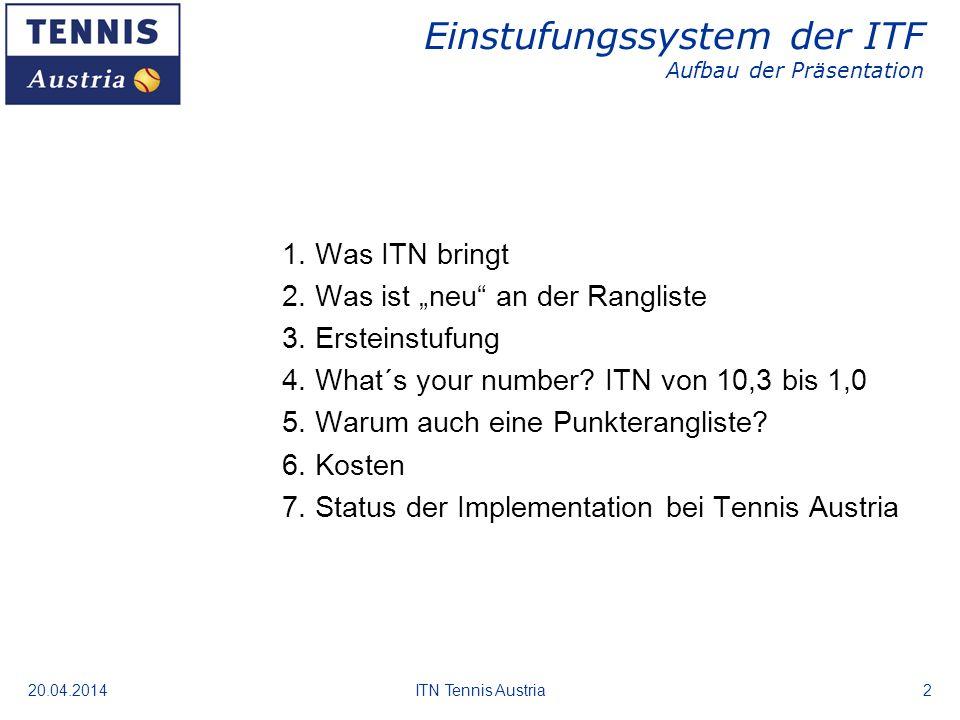 20.04.2014ITN Tennis Austria2 Einstufungssystem der ITF Aufbau der Präsentation 1. Was ITN bringt 2. Was ist neu an der Rangliste 3. Ersteinstufung 4.