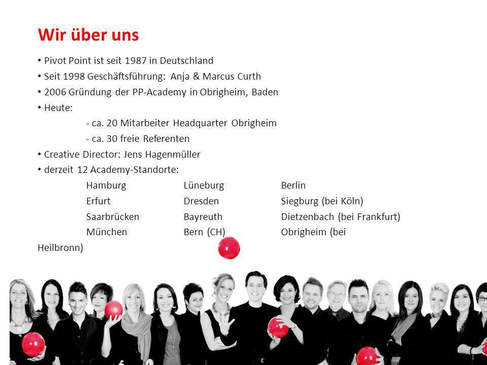 Wir über uns Pivot Point ist seit 1987 in Deutschland Seit 1998 Geschäftsführung: Anja & Marcus Curth 2006 Gründung der PP-Academy in Obrigheim, Baden