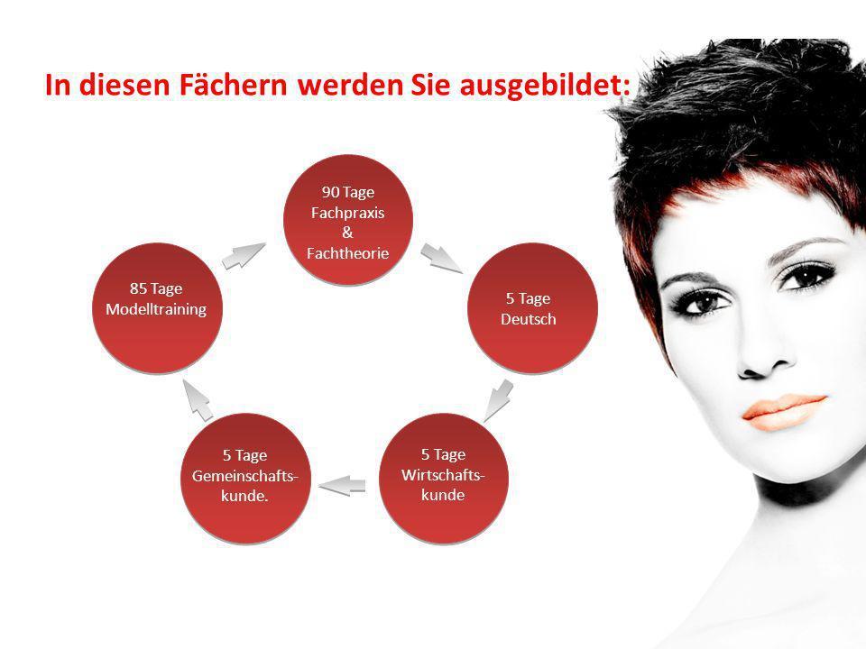 90 Tage Fachpraxis & Fachtheorie 85 Tage Modelltraining 5 Tage Deutsch 3 Wochen Deutsch 5 Tage Wirtschafts- kunde 5 Tage Gemeinschafts- kunde. In dies