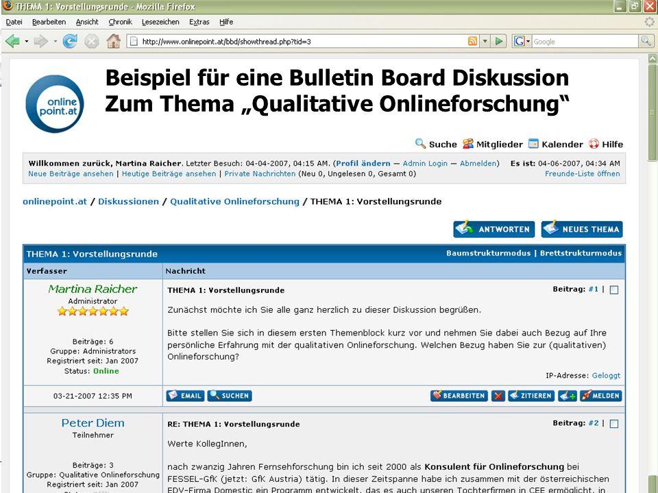 Gruppenbefragungen online durchführen/ Diplomprüfung – 10. September 2007 Titel Folie Beispiel für eine Bulletin Board Diskussion Zum Thema Qualitativ