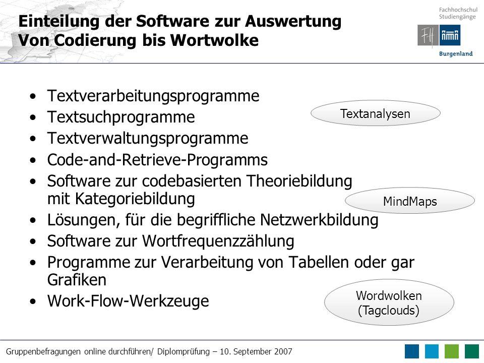 Gruppenbefragungen online durchführen/ Diplomprüfung – 10. September 2007 Textverarbeitungsprogramme Textsuchprogramme Textverwaltungsprogramme Code-a