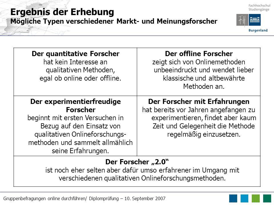 Gruppenbefragungen online durchführen/ Diplomprüfung – 10. September 2007 Der quantitative Forscher hat kein Interesse an qualitativen Methoden, egal