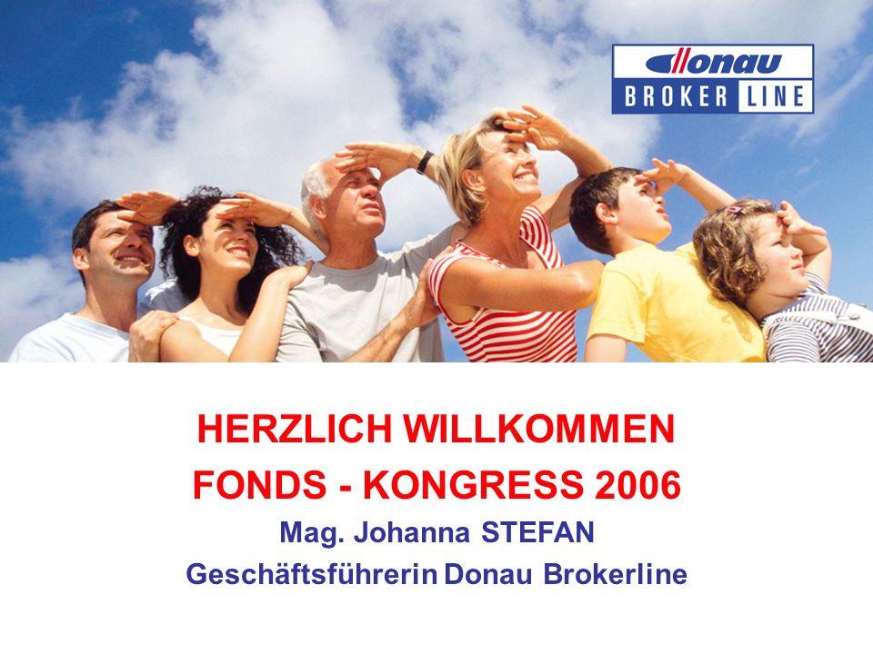 HERZLICH WILLKOMMEN FONDS - KONGRESS 2006 Mag. Johanna STEFAN Geschäftsführerin Donau Brokerline