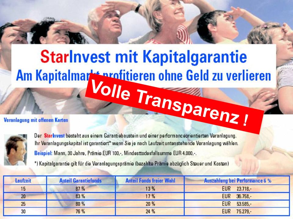 Volle Transparenz !