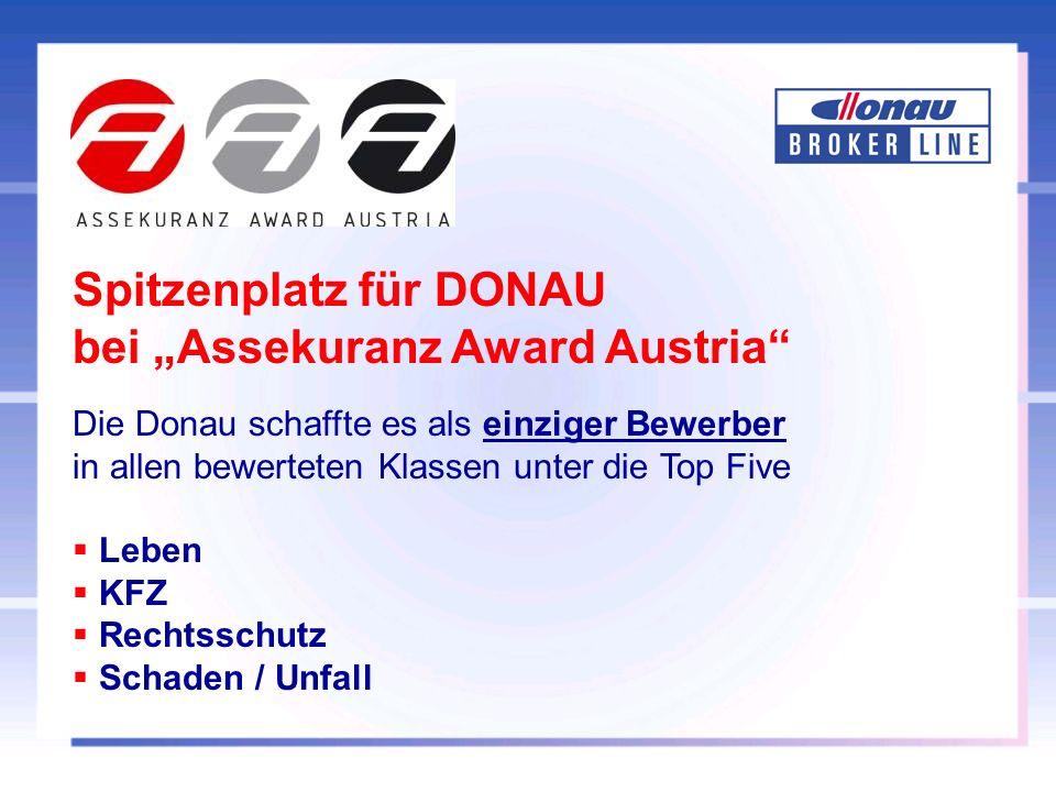 Die Donau schaffte es als einziger Bewerber in allen bewerteten Klassen unter die Top Five Leben KFZ Rechtsschutz Schaden / Unfall Spitzenplatz für DONAU bei Assekuranz Award Austria