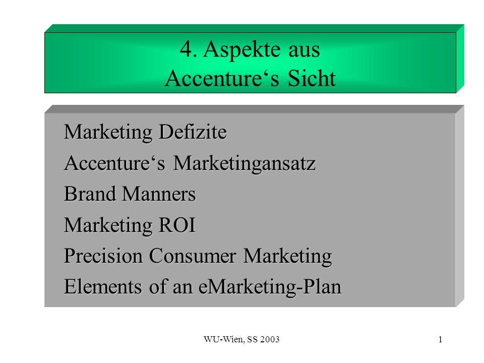 WU-Wien, SS 20032 Ungenügende Kooperation Keine Mittel, die den Austausch von Informationen und früheren Arbeiten über die Geschäftsfelder hinaus ermöglichen Ähnliche Ideen/Technologien werden in der ganzen Organisation verstreut entwickelt.