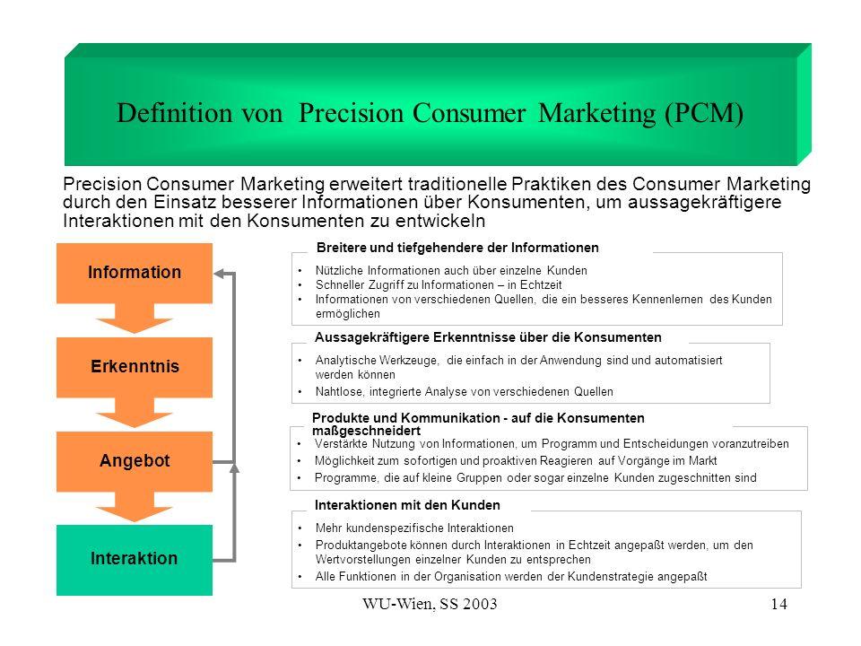 WU-Wien, SS 200314 Definition von Precision Consumer Marketing (PCM) Nützliche Informationen auch über einzelne Kunden Schneller Zugriff zu Informatio