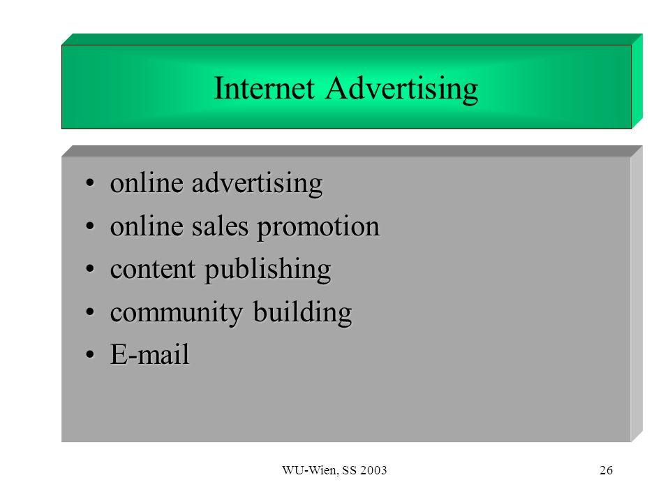 WU-Wien, SS 200326 1. Introduction online advertisingonline advertising online sales promotiononline sales promotion content publishingcontent publish