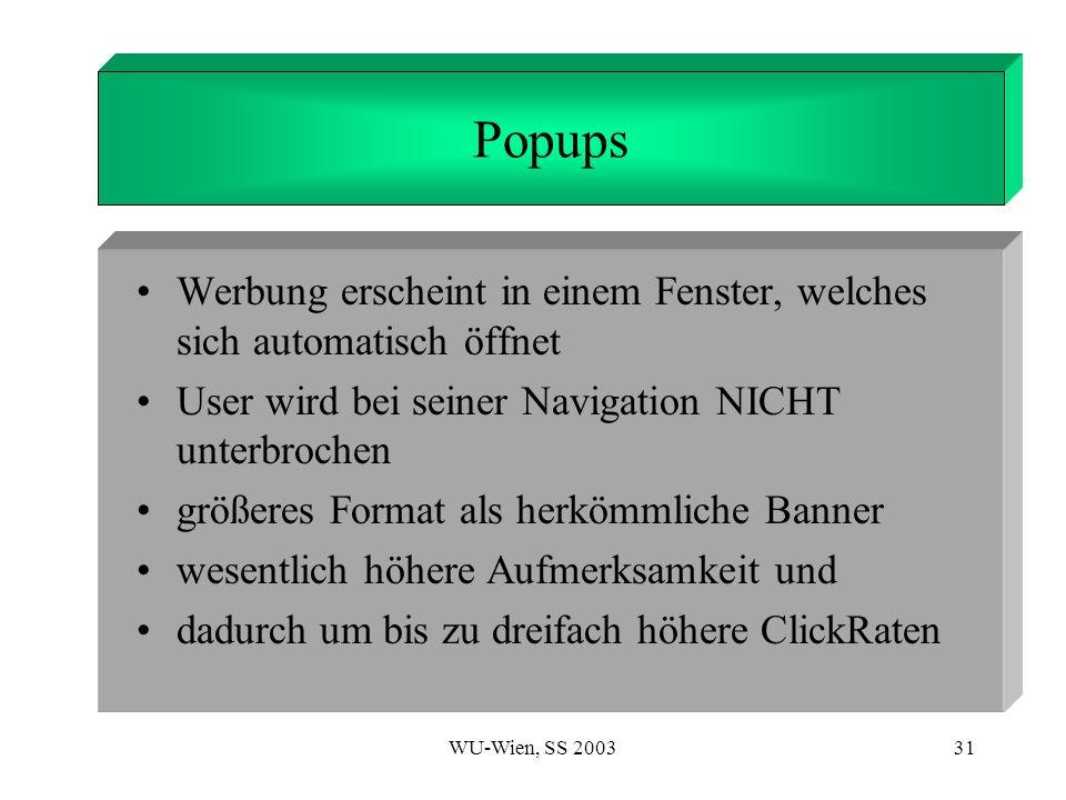 WU-Wien, SS 200331 1. Introduction Popups Werbung erscheint in einem Fenster, welches sich automatisch öffnet User wird bei seiner Navigation NICHT un