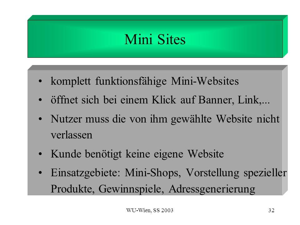 WU-Wien, SS 200332 1. Introduction Mini Sites komplett funktionsfähige Mini-Websites öffnet sich bei einem Klick auf Banner, Link,... Nutzer muss die