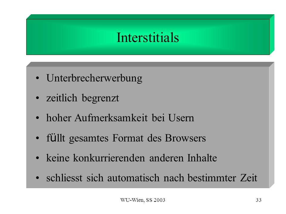 WU-Wien, SS 200333 1. Introduction Interstitials Unterbrecherwerbung zeitlich begrenzt hoher Aufmerksamkeit bei Usern f ü llt gesamtes Format des Brow