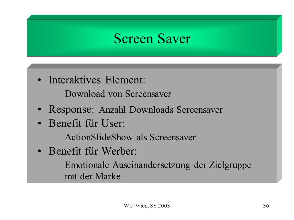 WU-Wien, SS 200336 1. Introduction Screen Saver Interaktives Element: Download von Screensaver Response: Anzahl Downloads Screensaver Benefit für User