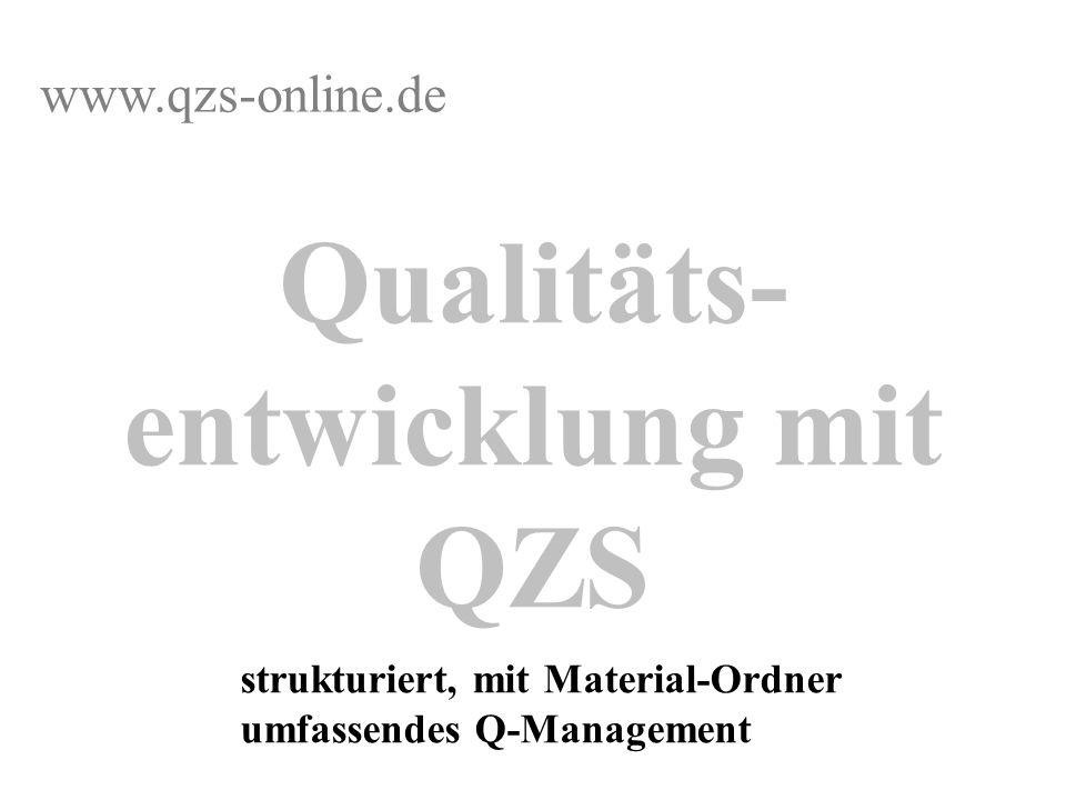 Qualitäts- entwicklung mit QZS strukturiert, mit Material-Ordner umfassendes Q-Management www.qzs-online.de