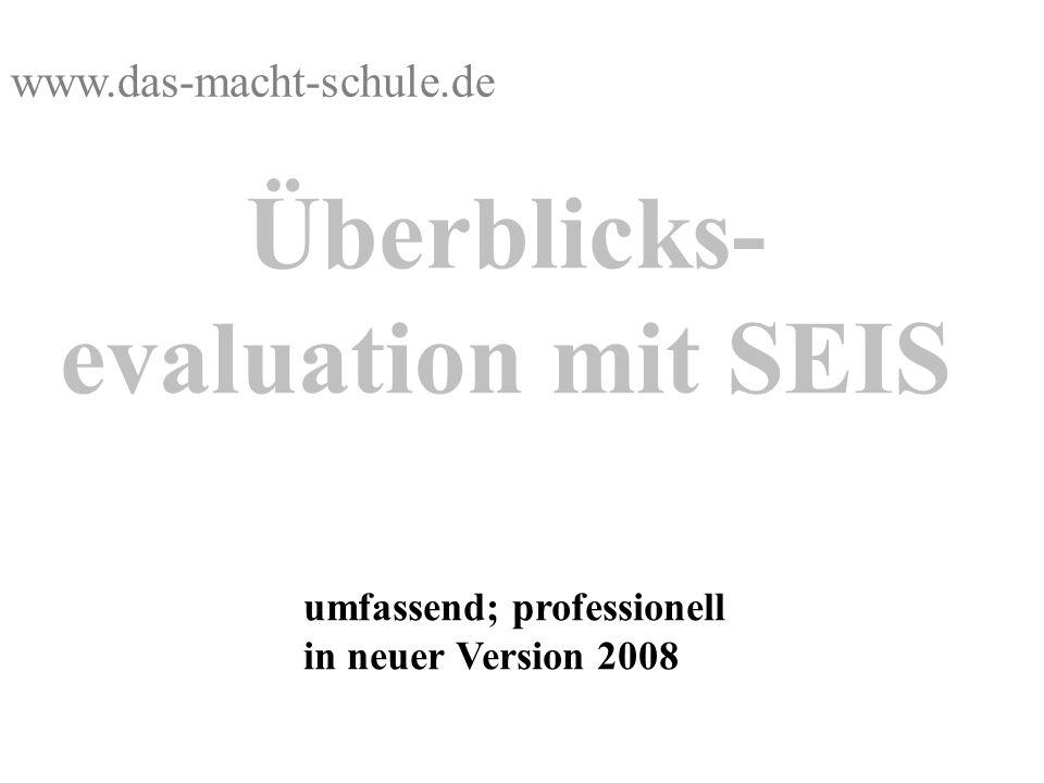 Überblicks- evaluation mit SEIS umfassend; professionell in neuer Version 2008 www.das-macht-schule.de