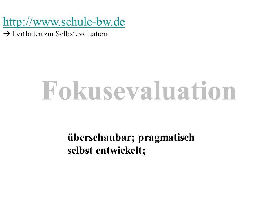 Fokusevaluation überschaubar; pragmatisch selbst entwickelt; http://www.schule-bw.de Leitfaden zur Selbstevaluation