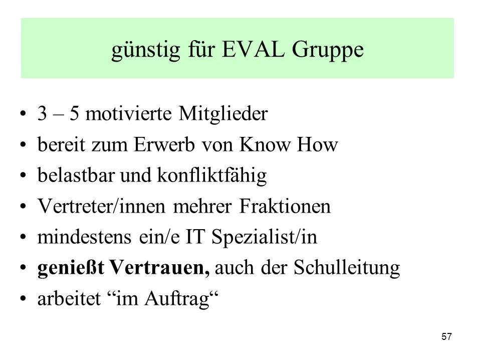 57 günstig für EVAL Gruppe 3 – 5 motivierte Mitglieder bereit zum Erwerb von Know How belastbar und konfliktfähig Vertreter/innen mehrer Fraktionen mindestens ein/e IT Spezialist/in genießt Vertrauen, auch der Schulleitung arbeitet im Auftrag