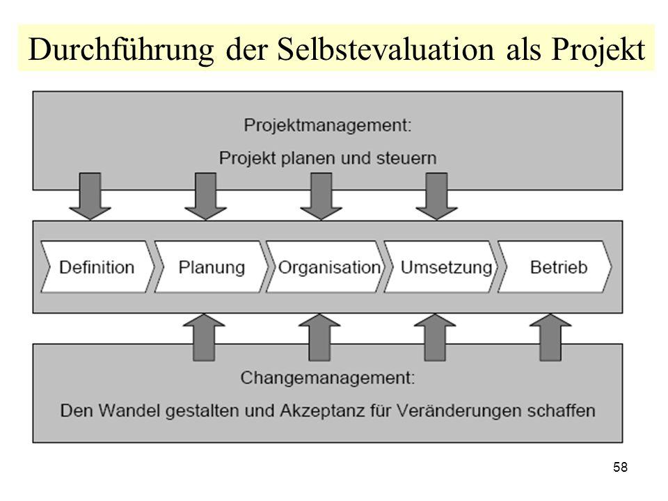 58 Durchführung der Selbstevaluation als Projekt