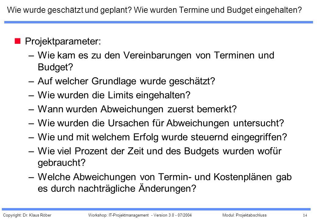 Copyright: Dr. Klaus Röber 14 Workshop: IT-Projektmanagement - Version 3.0 - 07/2004Modul: Projektabschluss Wie wurde geschätzt und geplant? Wie wurde