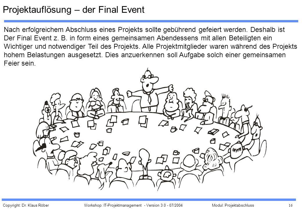 Copyright: Dr. Klaus Röber 16 Workshop: IT-Projektmanagement - Version 3.0 - 07/2004Modul: Projektabschluss Projektauflösung – der Final Event Nach er