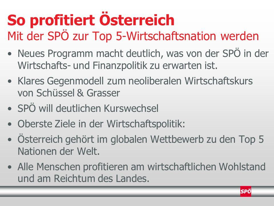 Neues Programm macht deutlich, was von der SPÖ in der Wirtschafts- und Finanzpolitik zu erwarten ist.