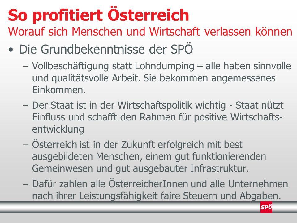 Die Grundbekenntnisse der SPÖ –Vollbeschäftigung statt Lohndumping – alle haben sinnvolle und qualitätsvolle Arbeit.