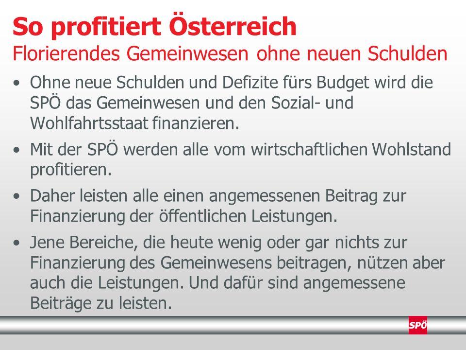 Ohne neue Schulden und Defizite fürs Budget wird die SPÖ das Gemeinwesen und den Sozial- und Wohlfahrtsstaat finanzieren.