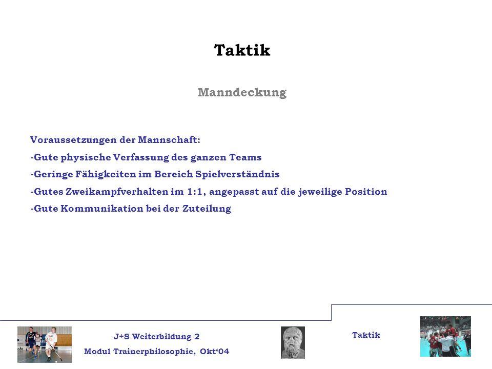 J+S Weiterbildung 2 Modul Trainerphilosophie, Okt04 Taktik Manndeckung Voraussetzungen der Mannschaft: -Gute physische Verfassung des ganzen Teams -Ge