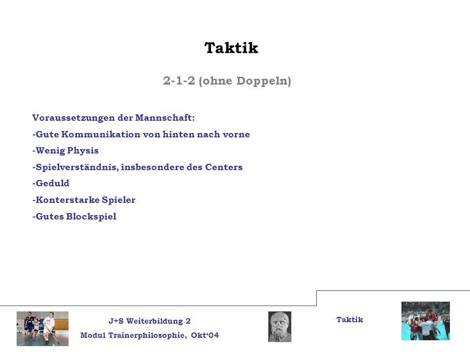 J+S Weiterbildung 2 Modul Trainerphilosophie, Okt04 Taktik 2-1-2 (ohne Doppeln) Voraussetzungen der Mannschaft: -Gute Kommunikation von hinten nach vo