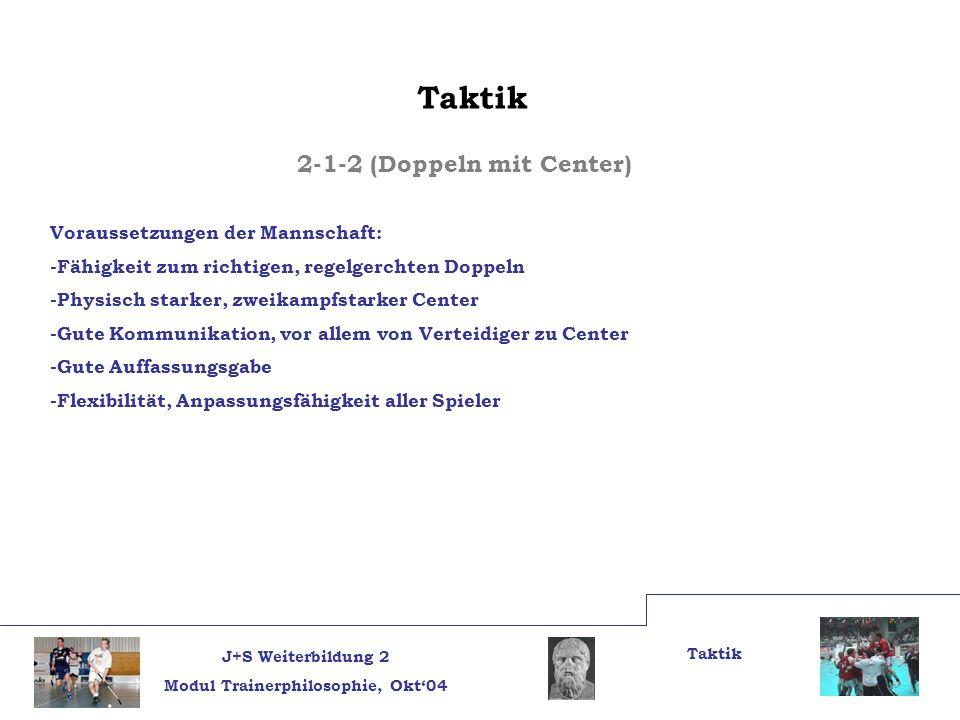 J+S Weiterbildung 2 Modul Trainerphilosophie, Okt04 Taktik 2-1-2 (Doppeln mit Center) Voraussetzungen der Mannschaft: -Fähigkeit zum richtigen, regelg