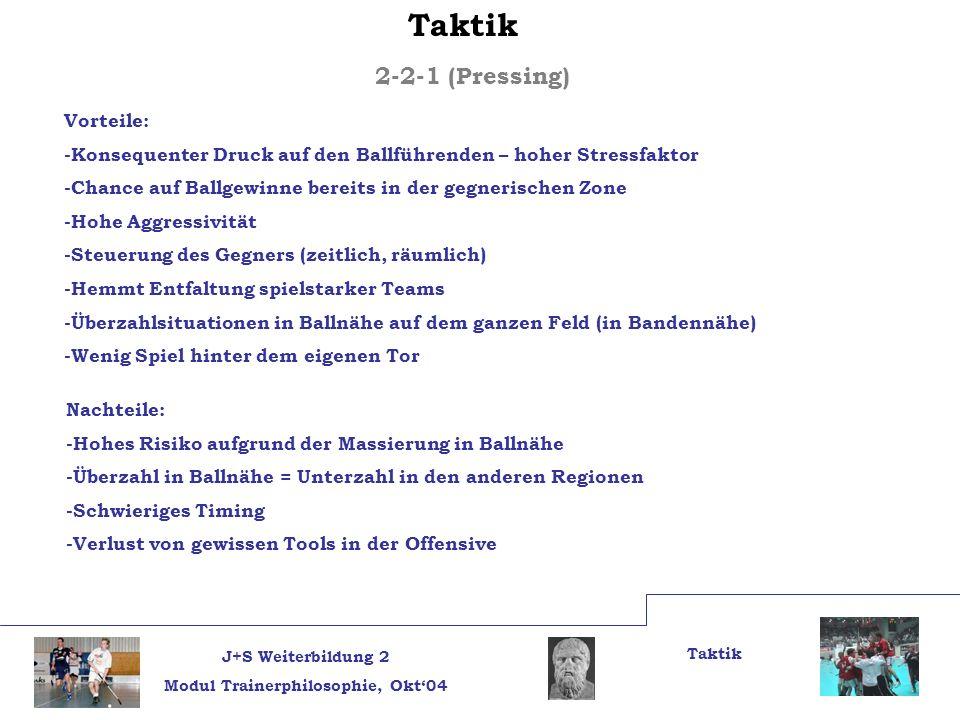 J+S Weiterbildung 2 Modul Trainerphilosophie, Okt04 Taktik 2-2-1 (Pressing) Nachteile: -Hohes Risiko aufgrund der Massierung in Ballnähe -Überzahl in