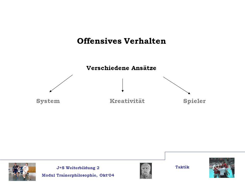 J+S Weiterbildung 2 Modul Trainerphilosophie, Okt04 Taktik Offensives Verhalten Verschiedene Ansätze System Kreativität Spieler