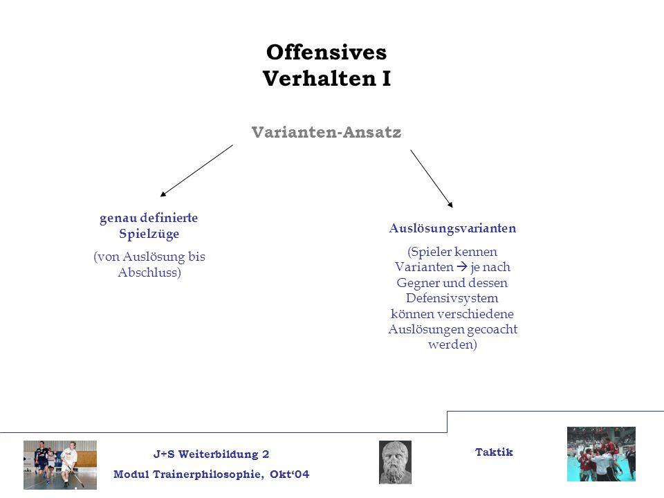 J+S Weiterbildung 2 Modul Trainerphilosophie, Okt04 Taktik Offensives Verhalten I Varianten-Ansatz genau definierte Spielzüge (von Auslösung bis Absch