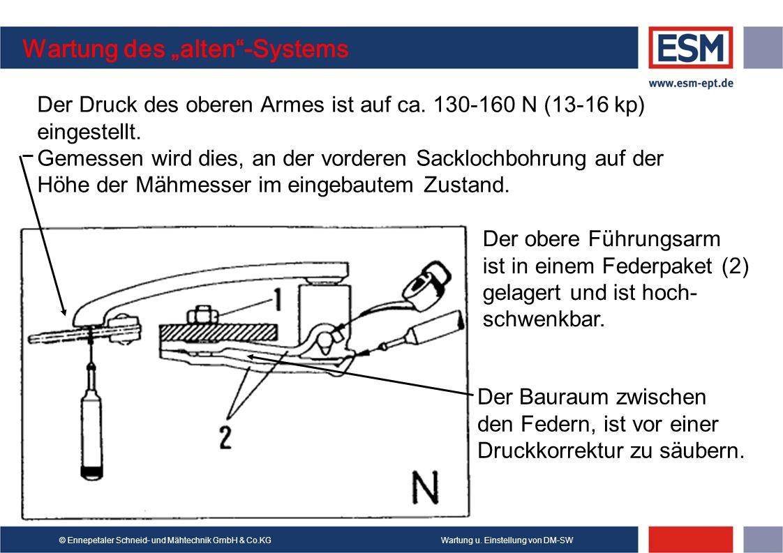 Wartung u. Einstellung von DM-SW© Ennepetaler Schneid- und Mähtechnik GmbH & Co.KG Wartung des alten-Systems Der obere Führungsarm ist in einem Federp