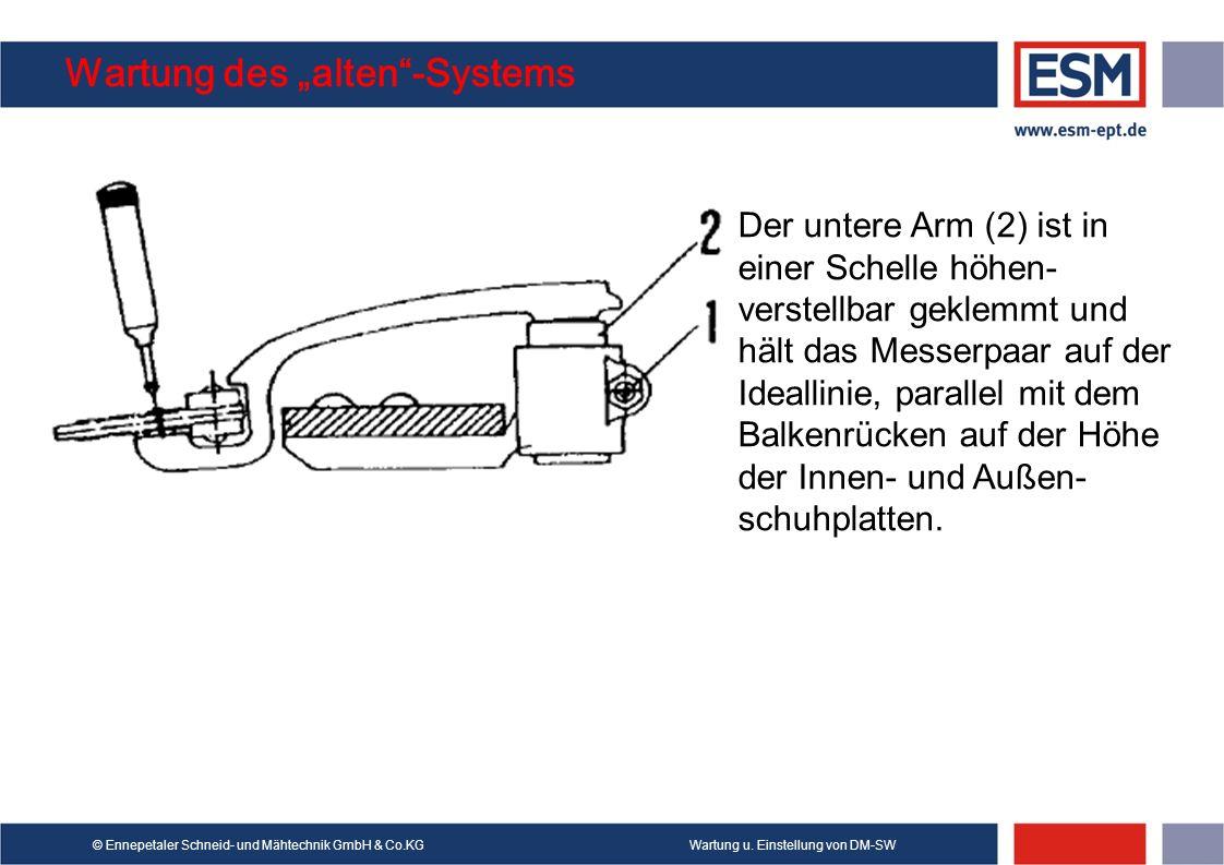 Wartung u. Einstellung von DM-SW© Ennepetaler Schneid- und Mähtechnik GmbH & Co.KG Wartung des alten-Systems Der untere Arm (2) ist in einer Schelle h