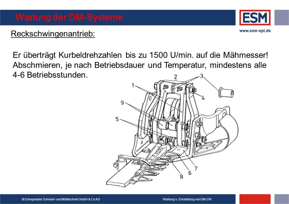 Wartung u. Einstellung von DM-SW© Ennepetaler Schneid- und Mähtechnik GmbH & Co.KG Wartung der DM-Systeme Reckschwingenantrieb: Er überträgt Kurbeldre