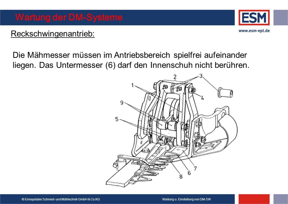 Wartung u. Einstellung von DM-SW© Ennepetaler Schneid- und Mähtechnik GmbH & Co.KG Wartung der DM-Systeme Reckschwingenantrieb: Die Mähmesser müssen i