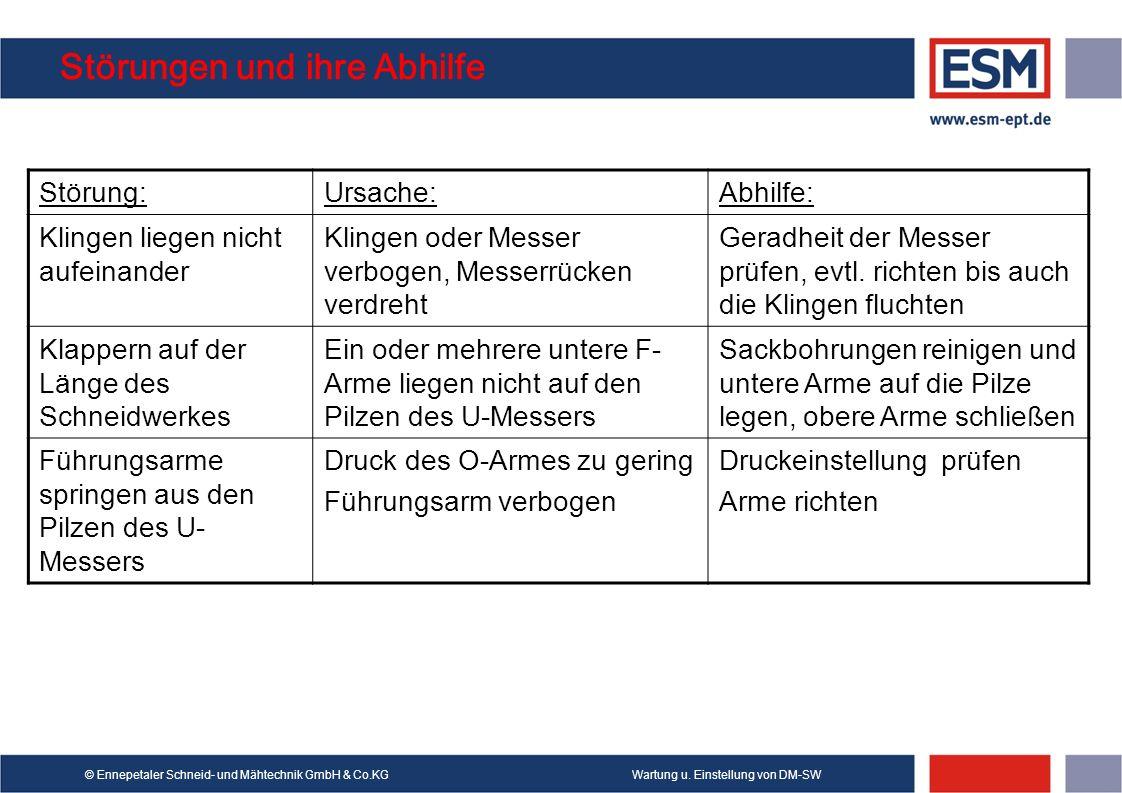 Wartung u. Einstellung von DM-SW© Ennepetaler Schneid- und Mähtechnik GmbH & Co.KG Störungen und ihre Abhilfe Störung:Ursache:Abhilfe: Klingen liegen