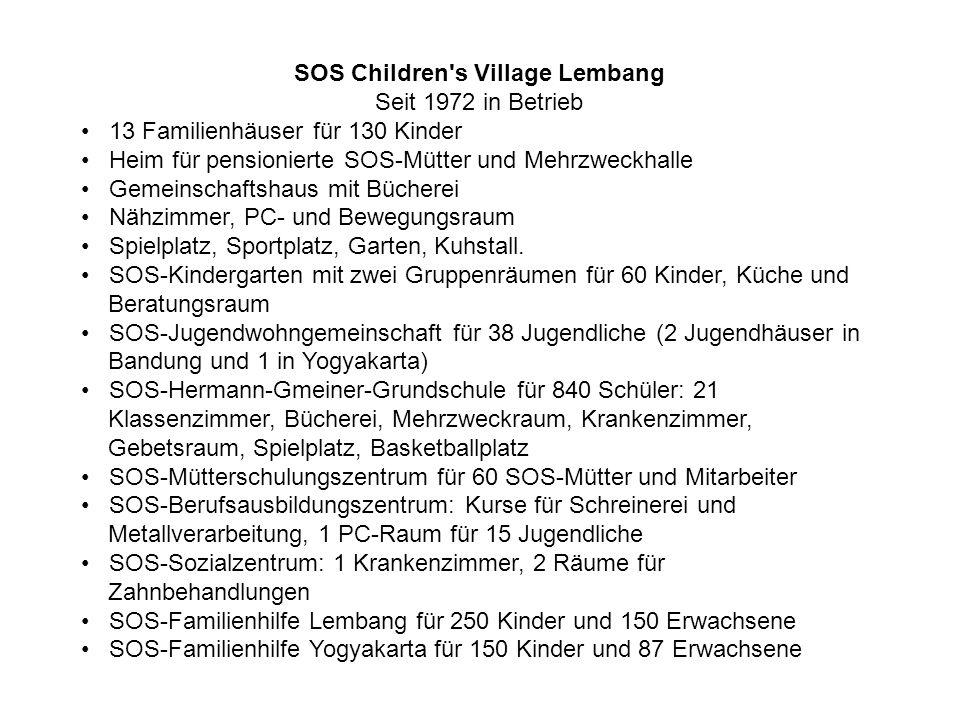 SOS Children's Village Lembang Seit 1972 in Betrieb 13 Familienhäuser für 130 Kinder Heim für pensionierte SOS-Mütter und Mehrzweckhalle Gemeinschafts