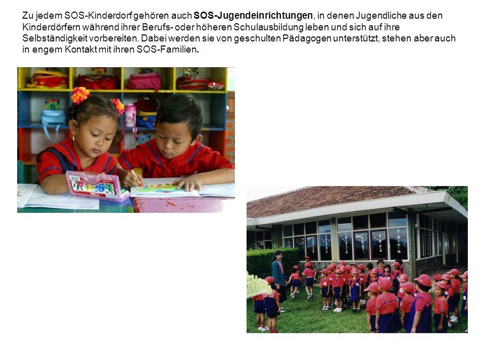 Zu jedem SOS-Kinderdorf gehören auch SOS-Jugendeinrichtungen, in denen Jugendliche aus den Kinderdörfern während ihrer Berufs- oder höheren Schulausbi