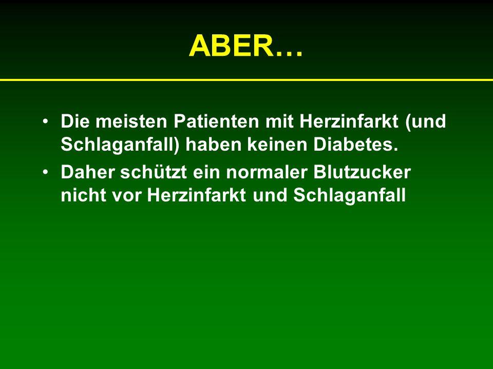 ABER… Die meisten Patienten mit Herzinfarkt (und Schlaganfall) haben keinen Diabetes. Daher schützt ein normaler Blutzucker nicht vor Herzinfarkt und