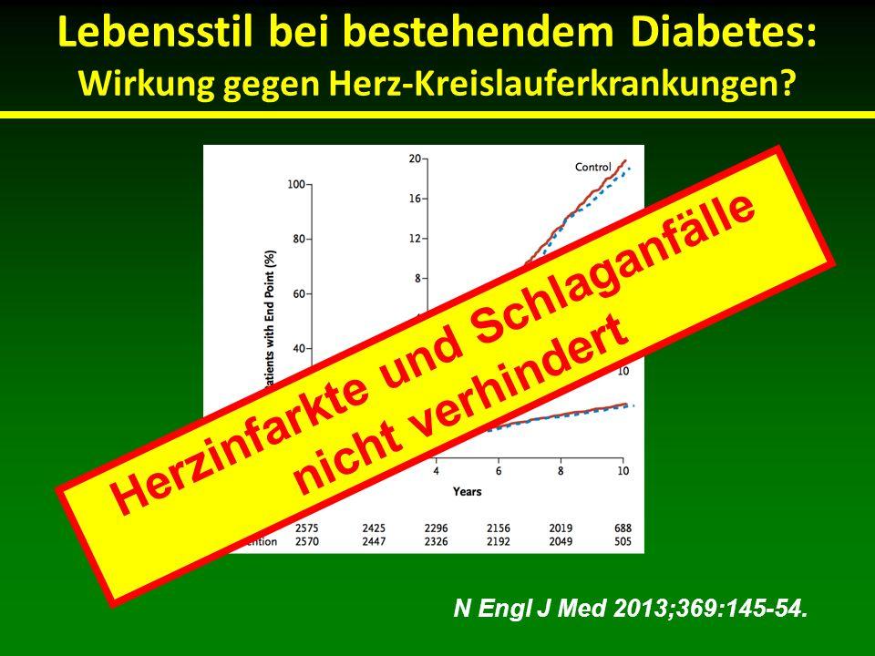 Lebensstil bei bestehendem Diabetes: Wirkung gegen Herz-Kreislauferkrankungen? N Engl J Med 2013;369:145-54. Herzinfarkte und Schlaganfälle nicht verh