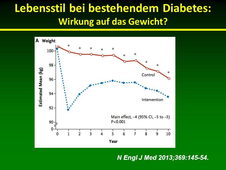 Lebensstil bei bestehendem Diabetes: Wirkung auf das Gewicht? N Engl J Med 2013;369:145-54.
