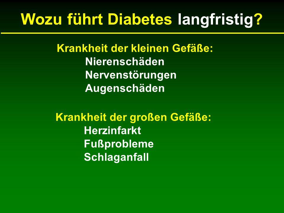 Krankheit der kleinen Gefäße: Nierenschäden Nervenstörungen Augenschäden Krankheit der großen Gefäße: Herzinfarkt Fußprobleme Schlaganfall Wozu führt Diabetes langfristig?