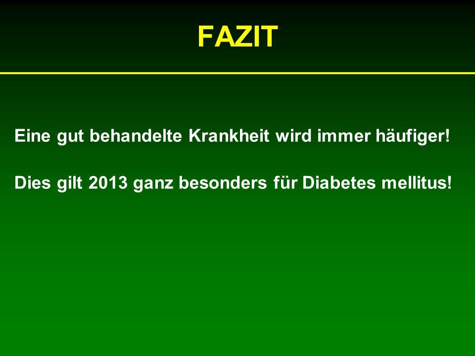 FAZIT Eine gut behandelte Krankheit wird immer häufiger! Dies gilt 2013 ganz besonders für Diabetes mellitus!