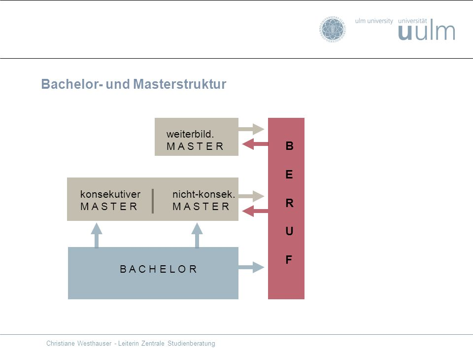 Bachelor- und Masterstruktur weiterbild. M A S T E R nicht-konsek. M A S T E R konsekutiver M A S T E R B A C H E L O R BERUFBERUF Christiane Westhaus
