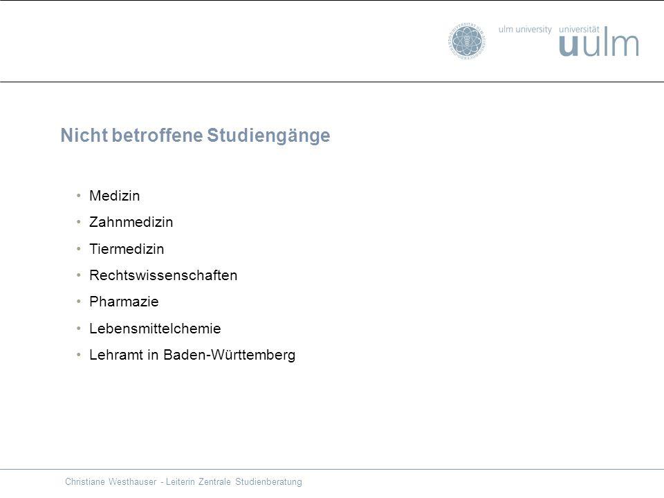 Nicht betroffene Studiengänge Medizin Zahnmedizin Tiermedizin Rechtswissenschaften Pharmazie Lebensmittelchemie Lehramt in Baden-Württemberg