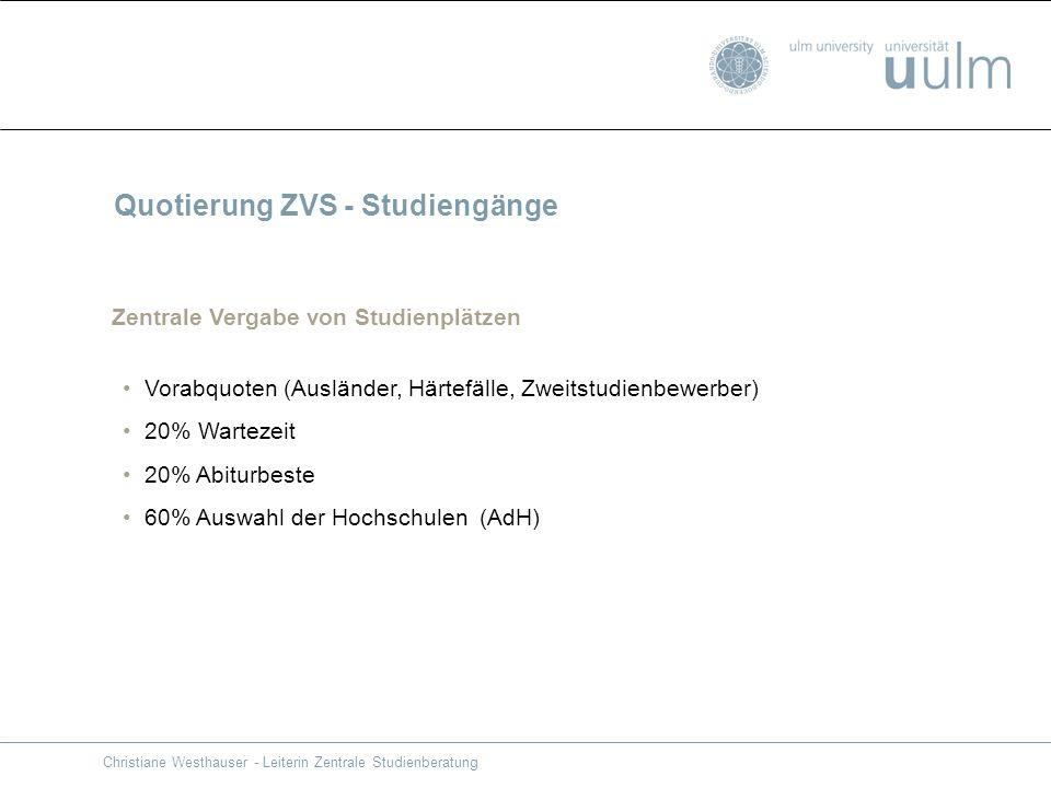 Christiane Westhauser - Leiterin Zentrale Studienberatung Quotierung ZVS - Studiengänge Zentrale Vergabe von Studienplätzen Vorabquoten (Ausländer, Hä